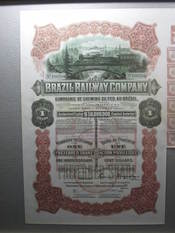 English: Share of Brazil Railway Company Français : Action de le société Brazil Railway Company