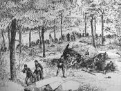 English: The 22nd Regiment Massachusetts Volunteer Infantry fighting on the Rose Farm during the Battle of Gettysburg on July 2, 1863