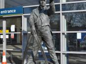 English: George Stephenson, near to Chesterfield, Derbyshire, Great Britain. The great railway engineer is buried in Chesterfield, his son Robert was also a famous railway engineer. Link He lived from the 9th of June 1781 to the 12th of August 1848.