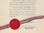 Authentication page for an official copy of the North Atlantic Treaty Organization treaty, signed and sealed by Secretary of State Dean Acheson.