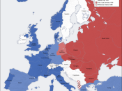 Division of Europe during the Cold War. Blue = US led NATO, Red = USSR led Warsaw pact.