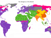 A map of the world, showing the major religions distributed in the world as of today. A different type of map which views only the religion as a whole excluding denominations or sects of the religions, and is colored by how the religions are distributed n