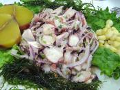 (Ceviche de pulpo, as known and prepared in the port of Callao, in Lima, Peru.)