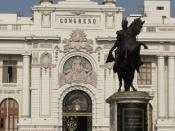 English: Parliament/Detail of central part of Congreso in Lima, Peru.