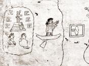Detail of first page from the Boturini Codex, depicting the departure from Aztlán.