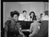 [Portrait of Mary Lou Williams, Jack Teagarden, Dixie Bailey, Hank Jones, Tadd Dameron, and Milt Orent, Mary Lou Williams' apartment, New York, N.Y., ca. Aug. 1947] (LOC)