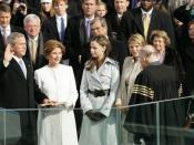 Jenna Bush (second from right) witnesses her father taking the oath on Inauguration Day on January 20, 2005