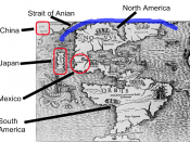 Map of North America, Asia and Europe first published in 1540, showing Strait of Anian or Northwest Passage