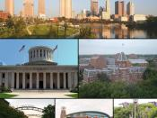 Montage of Columbus, Ohio images. From top to bottom left to right: Columbus skyline Ohio Statehouse Ohio State University Short North Nationwide Arena Replica of Santa Maria