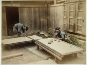 Men making tatami mats, late 19th century.