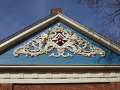 Holden Chapel detail, Harvard University, Cambridge, Massachusetts, USA.