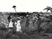English: This 1885 photograph shows pioneers standing on what is believed to be the west side of Lake Worth--the future West Palm Beach.