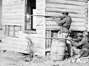 Dutch Gap, Virginia. Picket station of Colored troops near Dutch Gap canal
