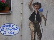 Gavroche - Marche et invente ta vie. Paris 20ème, rue Planchat, street art