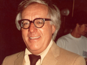 A photograph of science fiction author Ray Bradbury that I took in August, 1975 and which he later autographed to me.