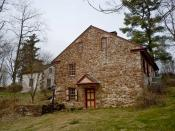English: Mordecai Lincoln House on the NRHP since November 3, 1988, on Lincoln Road in Lorane, right by the creek on the south-east end of the village, in Exeter Township , Berks County, Pennsylvania. Mordecai Lincoln was the Great-Great-Grandfather of Pr