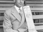 Don Bradman posing with his