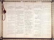 The first two pages of the Treaty of Brest-Litovsk, in (left to right) German, Hungarian, Bulgarian, Ottoman Turkish and Russian