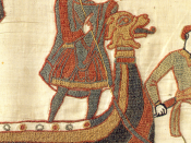 Harold Godwinson, last Anglo-Saxon king of England, as depicted in the Bayeux Tapestry. He is shown wearing a tunic, cloak, and hose.