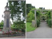 English: Central Park, Syston, near Leicester. On the left, the War Memorial; on the right, the Peace Garden, a sensory garden opened in April 1998 with different textured and perfumed plants and a bubble fountain set in a large mossy rock to excite the s