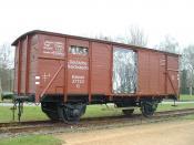 English: Train wagon at the Neuengamme concentration camp Deutsch: Eisenbahnwagon der Deutschen Reichbahn, mit dem Gefangene transportiert wurden, auf dem Gelände des Konzentrationslagers Neuengamme