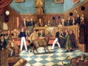 English: Painting of the Trial of Bill Burns, the first prosecution under the 1822 Martin's Act for cruelty to animals, after he was found beating his donkey. It is the first known prosecution for animal cruelty in the world. The prosecution was brought b