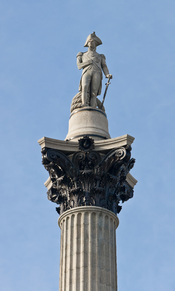 Lord Nelson at the top of Nelson's Column in Trafalgar Square, London, England. Taken by myself with a Canon 5D and 70-200mm f/2.8L lens at 200mm.