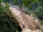 English: A mineral deposit from hot springs in Baturaden, Indonesia
