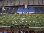 Avon Black and Gold Marching Band from Avon, Indiana perform at a Bands of America Grand National Championship in the RCA Dome.