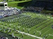 Kansas State University Marching Band marching on the football field at Bill Snyder Family Stadium in Manhattan, Kansas.