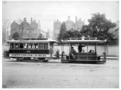 Cable tram dummy and trailer passing the QVH on route between Carlton and St Kilda in 1905.