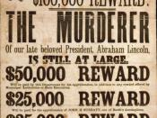 Broadside advertising reward for capture of Lincoln assassination conspirators, illustrated with photographic prints of John H. Surratt, John Wilkes Booth, and David E. Herold.