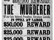 English: Broadside advertising reward for capture of Lincoln assassination conspirators, illustrated with photographic prints of John H. Surratt, John Wilkes Booth, and David E. Herold. Français : Avis de recherche avec prime de 100.000 $ pour la capture