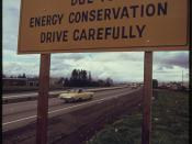 Posted Highway Sign Along Interstate #5 Explains Lack of Highway Lighting Is Due to Energy Conservation 11/1973