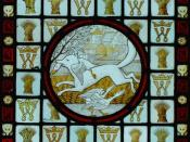 Reynard the Fox with geese, stained glass by Clement James Heaton (1824-82)