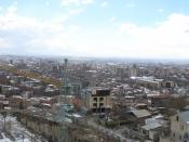 English: Panorama of Yerevan, Armenia, during Winter, as seen from the top of the Cascades at the WWII memorial monument. Panorama created with Hugin software.