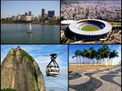 Photo montage of the city of Rio de Janeiro, Brazil. From the top, left to right: Christ the Redeemer, Rio–Niterói bridge, Downtown from the Guanabara Bay, Maracanã Stadium, Sugarloaf cable car, the pavement of Copacabana Beach, and panorama of the city t