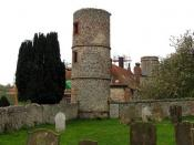 English: Towers of Stiffkey Hall, Stiffkey, Norfolk Taken from churchyard. Built by Nathaniel Bacon.