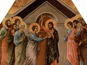Jesus appearing to Thomas the Apostle, from the Maesta by Duccio di Buoninsegna