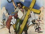 English: American cartoon by Grant Hamilton, 1896, on William Jennings Bryan's 'Cross of Gold' speech at the Democratic National Convention in Chicago, which won Bryan the presidential nomination.