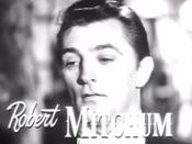 Cropped screenshot of Robert Mitchum from the trailer for the film My Forbidden Past.