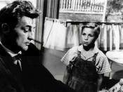 Robert Mitchum and Billy Chapin in THE NIGHT OF THE HUNTER, 1955,