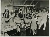 This V-J party united patients and J.W.B. hostesses in joy at victory