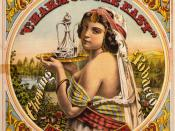 Charm of the East chewing tobacco, O.P. Shattuck, Worcester, Massachusetts. Tobacco label showing half-length portrait of a woman holding a tray with carafe and glass.