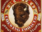 Tobacco label for J. Brown & Co. of Detroit, Michigan, depot St. Louis, showing head of a buffalo. Text: