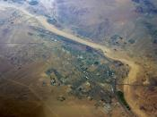 English: Aerial view of Barstow, California, USA.