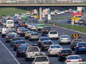 Traffic slows to a crawl on the Monash Freeway in Melbourne, Australia through peak hour traffic.