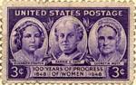 English: Postage stamp featuring Elizabeth Stanton, Carrie Chapman Catt, and Lucretia Mott, 1948.