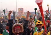 Johannesburg - Fans of Bafana Bafana, as the South African soccer team is popularly known, watching the opening game of the World Cup on a big screen set up by FIFA in Soweto.