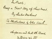English: Charles Dickens' handwritten Title to A Christmas Carol (1843)